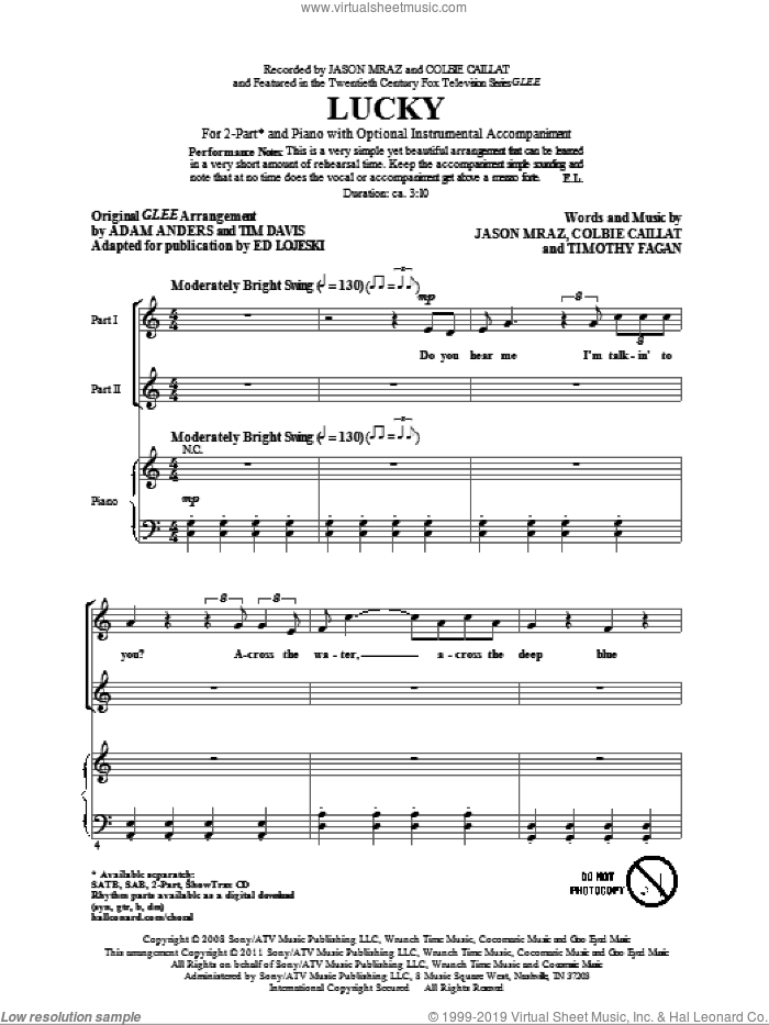 Lucky sheet music for choir (duets) by Glee Cast, Colbie Caillat, Ed Lojeski, Jason Mraz and Miscellaneous, intermediate. Score Image Preview.