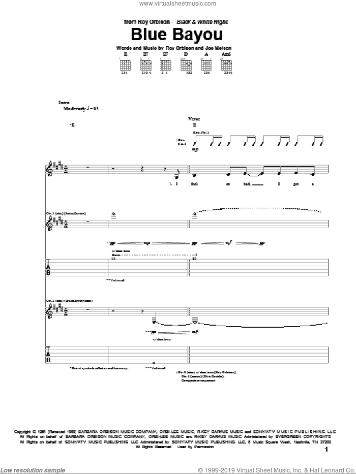 Blue Bayou sheet music for guitar (tablature) by Joe Melson, Linda Ronstadt and Roy Orbison. Score Image Preview.