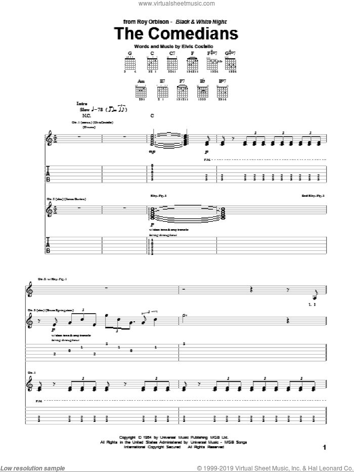 The Comedians sheet music for guitar (tablature) by Roy Orbison and Elvis Costello, intermediate skill level