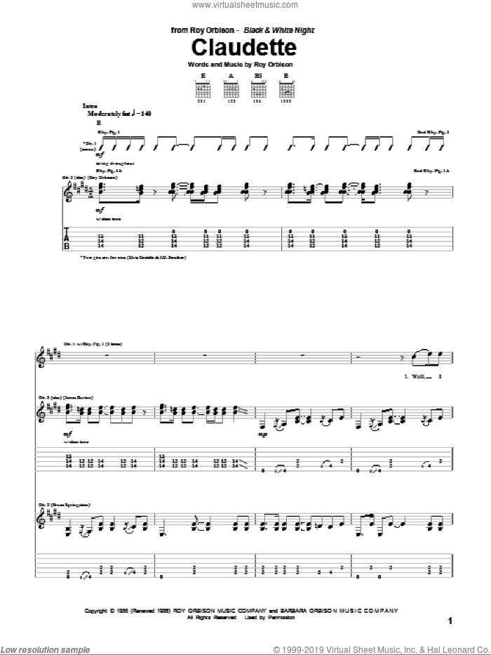 Claudette sheet music for guitar (tablature) by Roy Orbison and Everly Brothers. Score Image Preview.