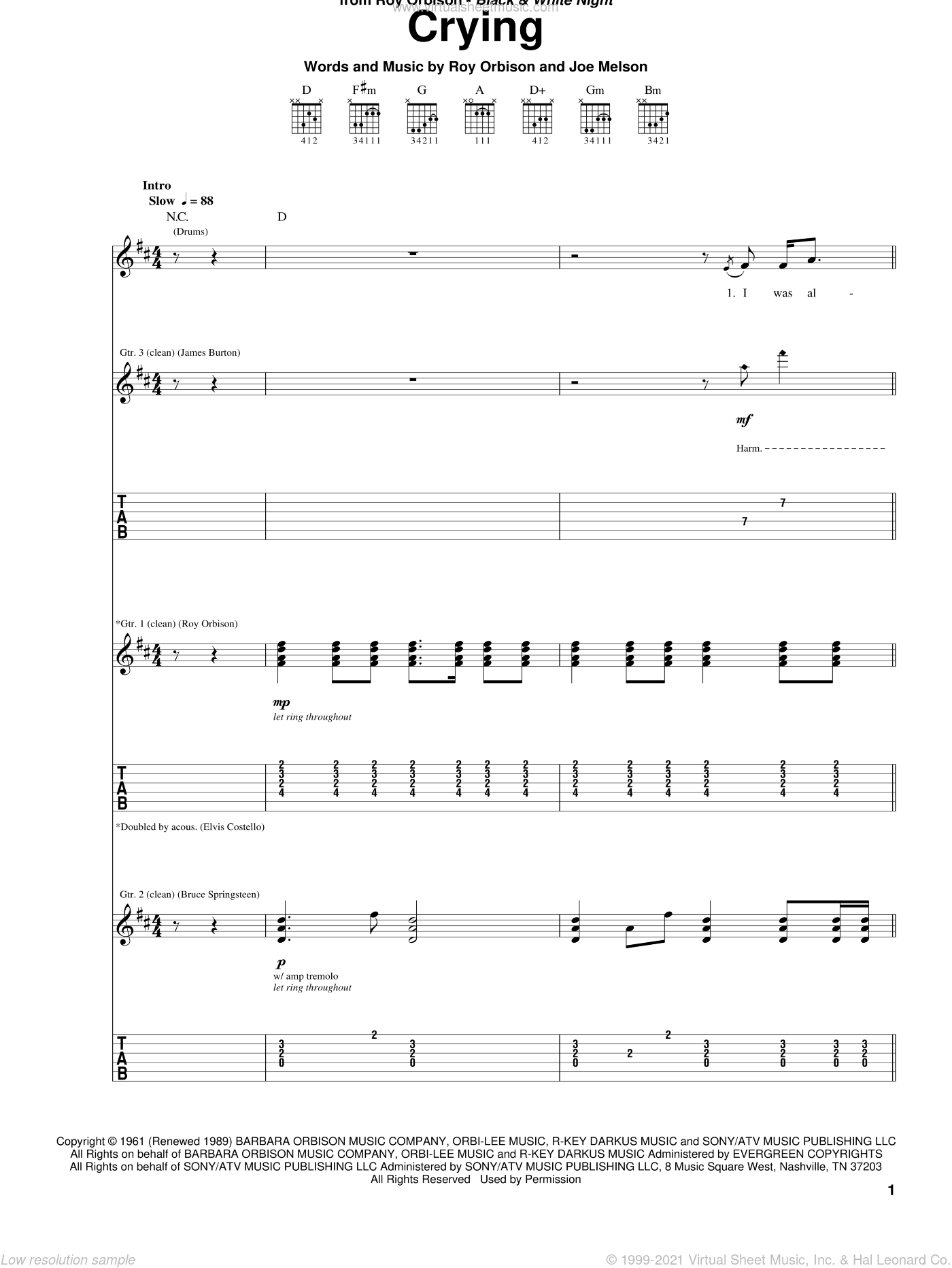 Crying sheet music for guitar (tablature) by Roy Orbison, Don McLean, Jay & The Americans and Joe Melson, intermediate skill level