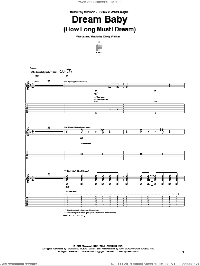 Dream Baby (How Long Must I Dream) sheet music for guitar (tablature) by Cindy Walker