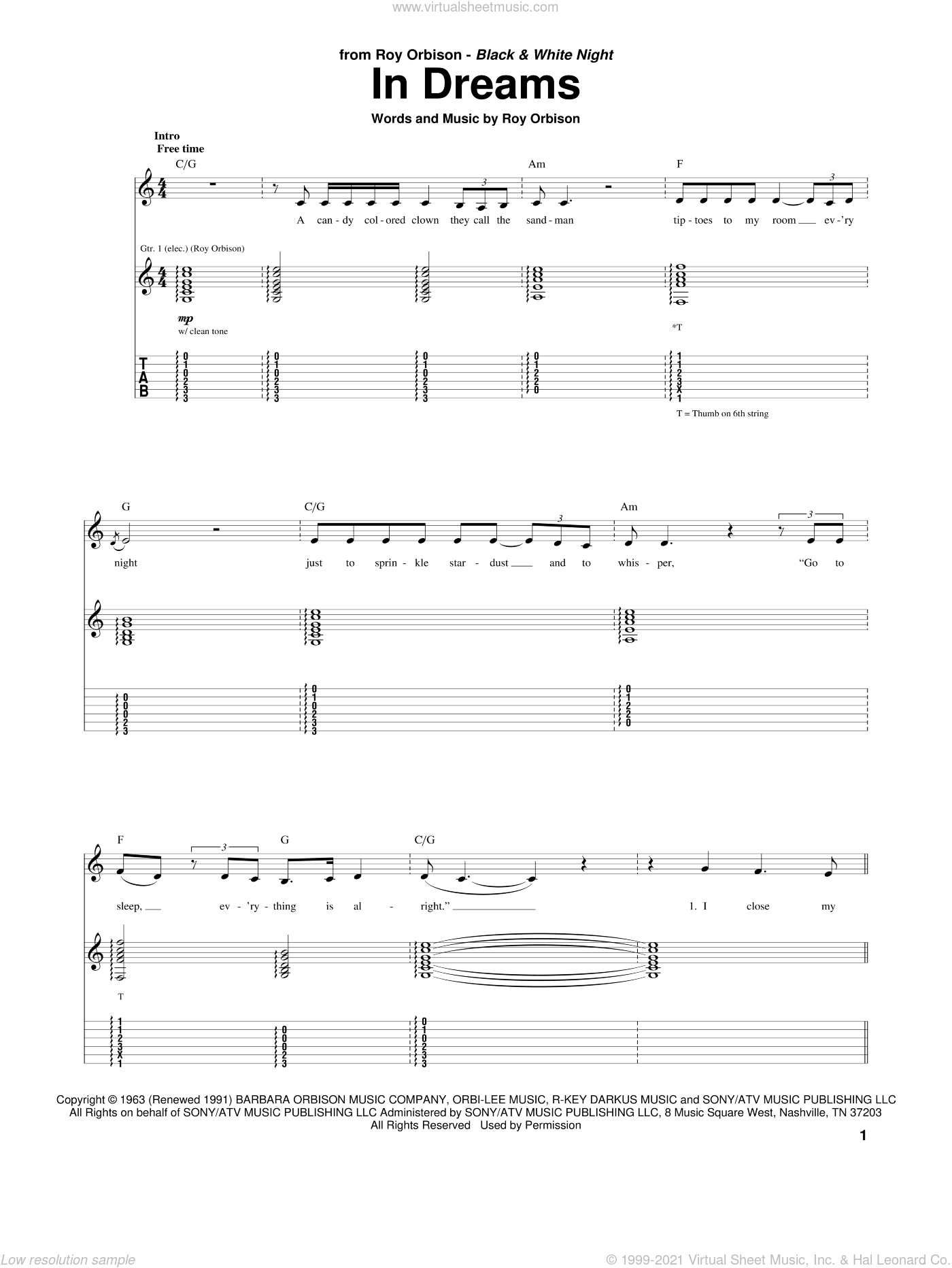 In Dreams sheet music for guitar (tablature) by Roy Orbison. Score Image Preview.