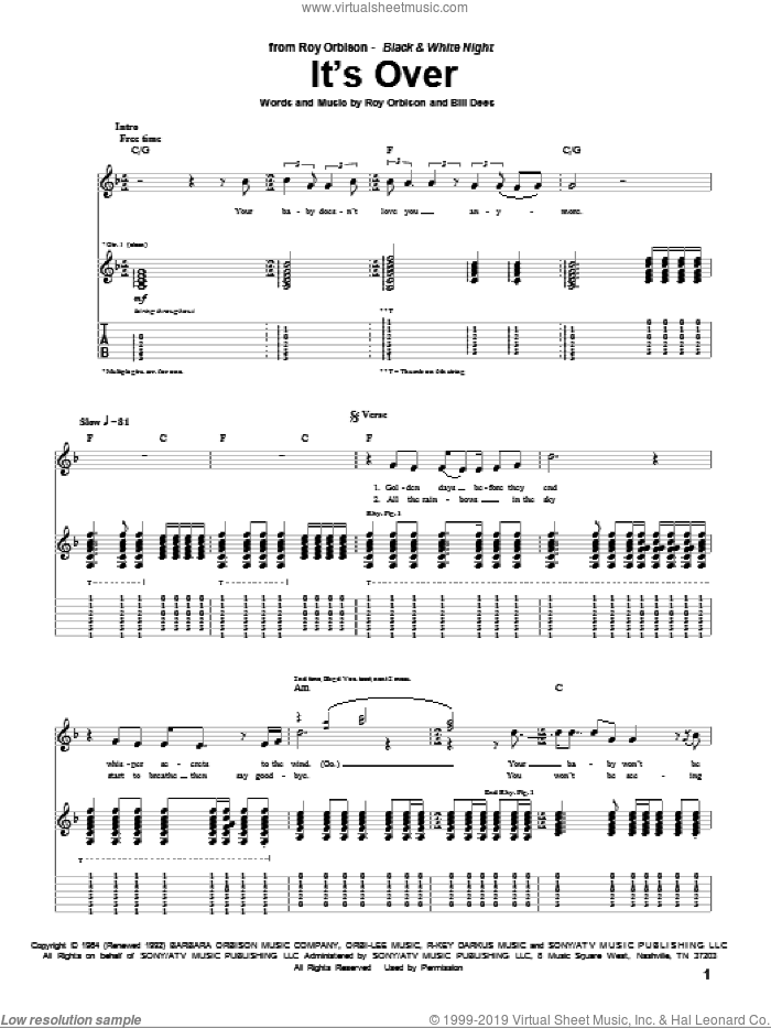 It's Over sheet music for guitar (tablature) by Bill Dees and Roy Orbison. Score Image Preview.