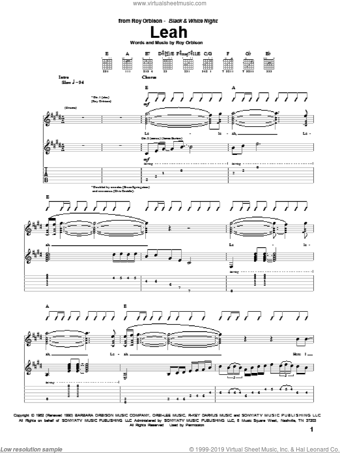Leah sheet music for guitar (tablature) by Roy Orbison, intermediate skill level