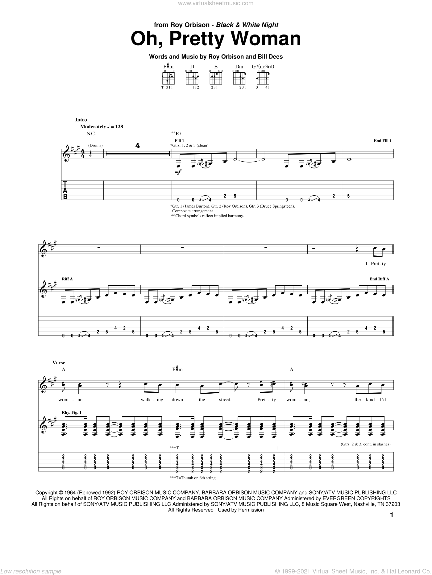 Oh, Pretty Woman sheet music for guitar (tablature) by Roy Orbison, Bill Dees and Edward Van Halen, classical score, intermediate skill level