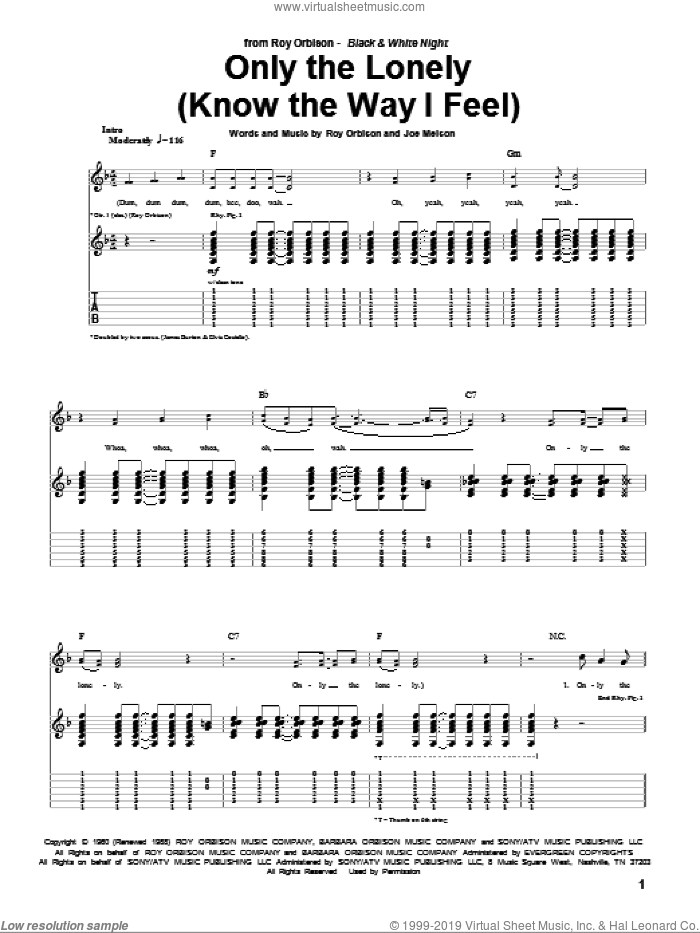 Only The Lonely (Know The Way I Feel) sheet music for guitar (tablature) by Roy Orbison, intermediate guitar (tablature). Score Image Preview.