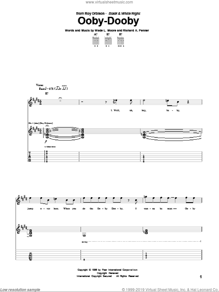 Ooby-Dooby sheet music for guitar (tablature) by Roy Orbison, Richard A. Penner and Wade L. Moore, intermediate skill level