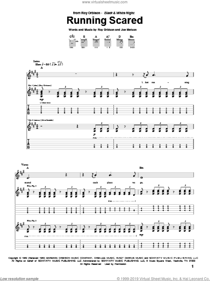 Running Scared sheet music for guitar (tablature) by Joe Melson