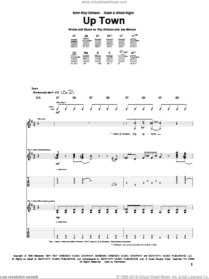 Up Town sheet music for guitar (tablature) by Roy Orbison and Joe Melson, intermediate
