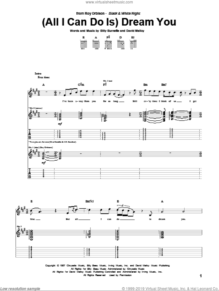 (All I Can Do Is) Dream You sheet music for guitar (tablature) by David Malloy, Roy Orbison and Billy Burnette. Score Image Preview.