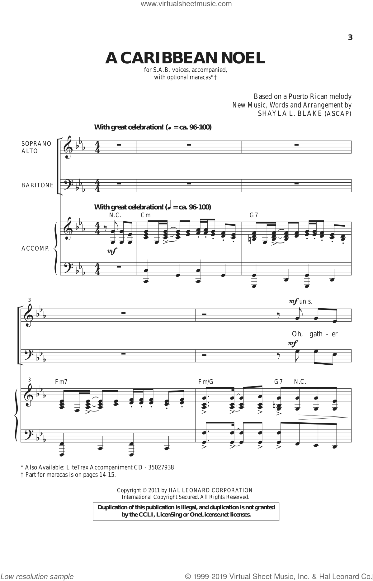 A Caribbean Noel sheet music for choir and piano (SAB) by Shayla Blake