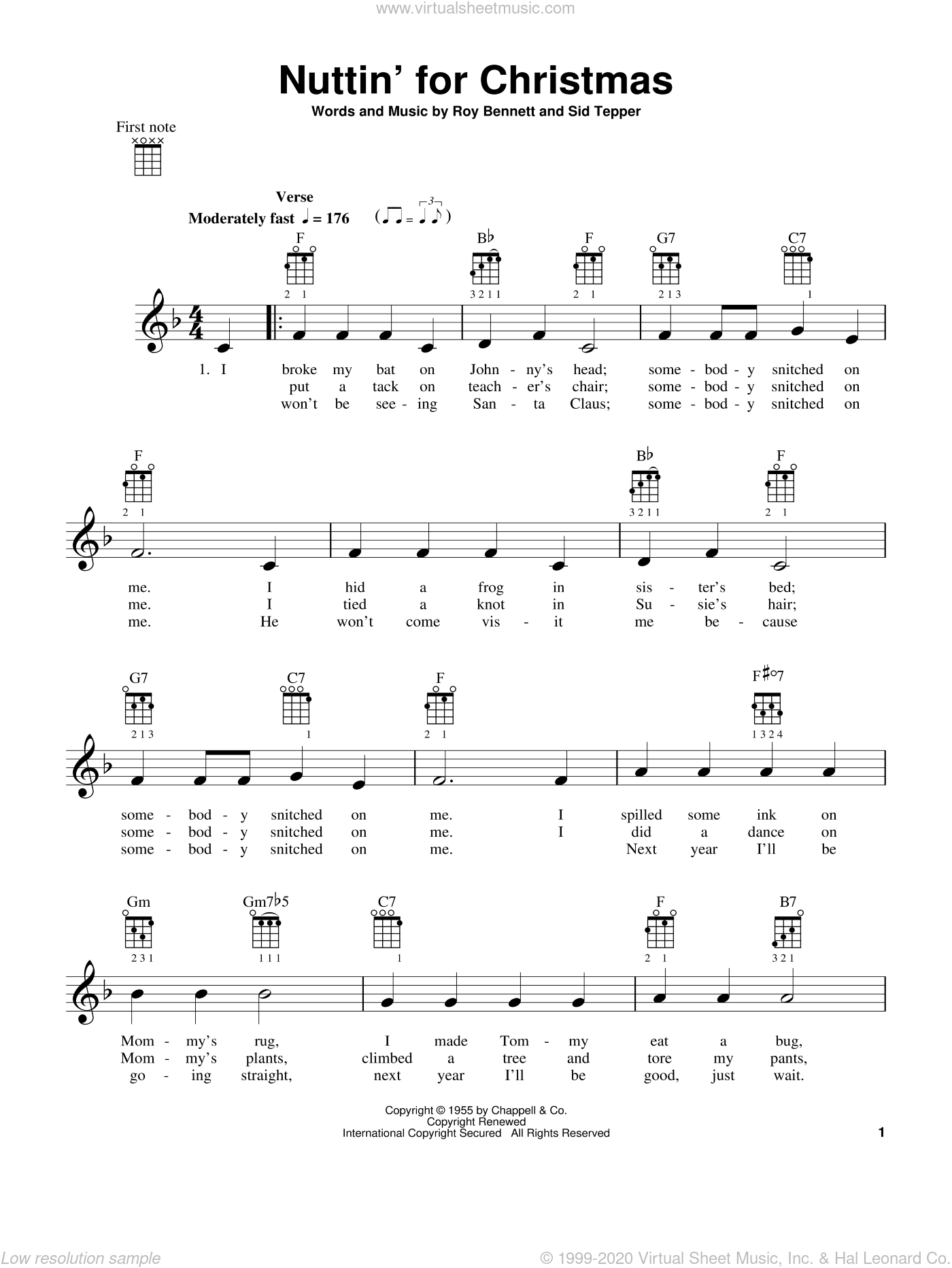 Nuttin' For Christmas sheet music for ukulele by Roy Bennett and Sid Tepper, intermediate. Score Image Preview.