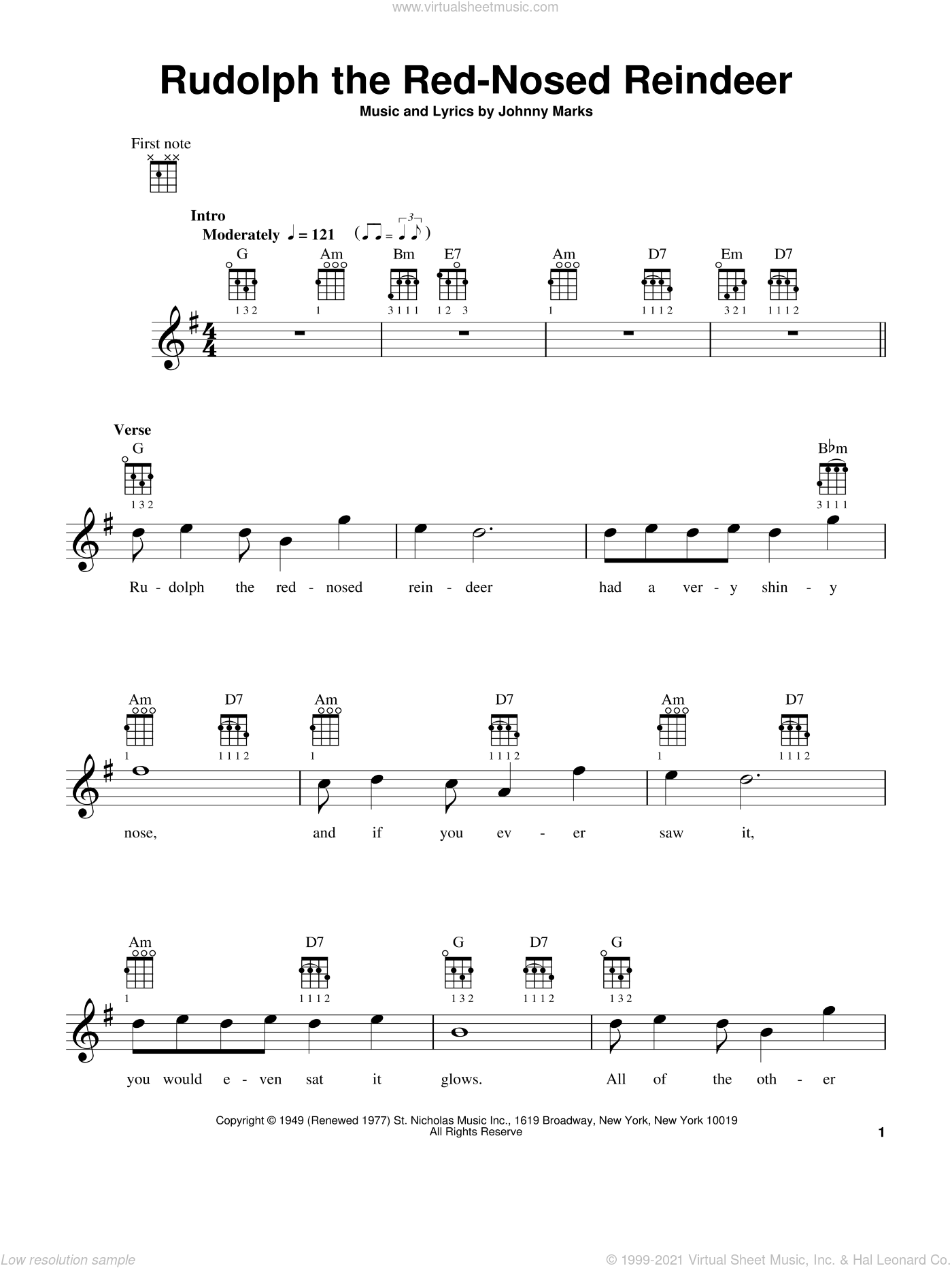 Rudolph The Red-Nosed Reindeer sheet music for ukulele by Johnny Marks, intermediate skill level