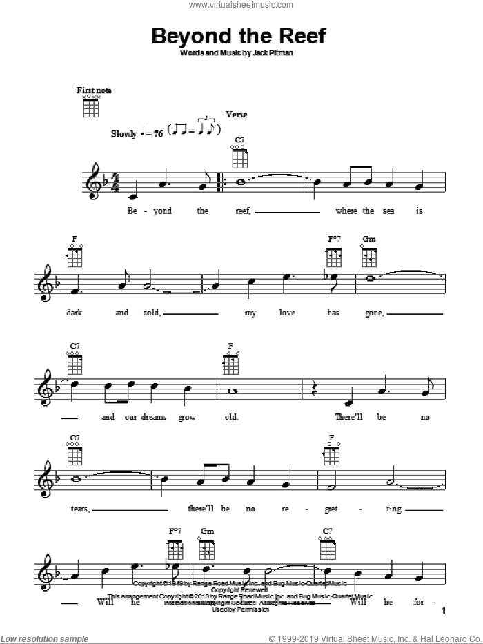 Beyond The Reef sheet music for ukulele by Jack Pitman. Score Image Preview.