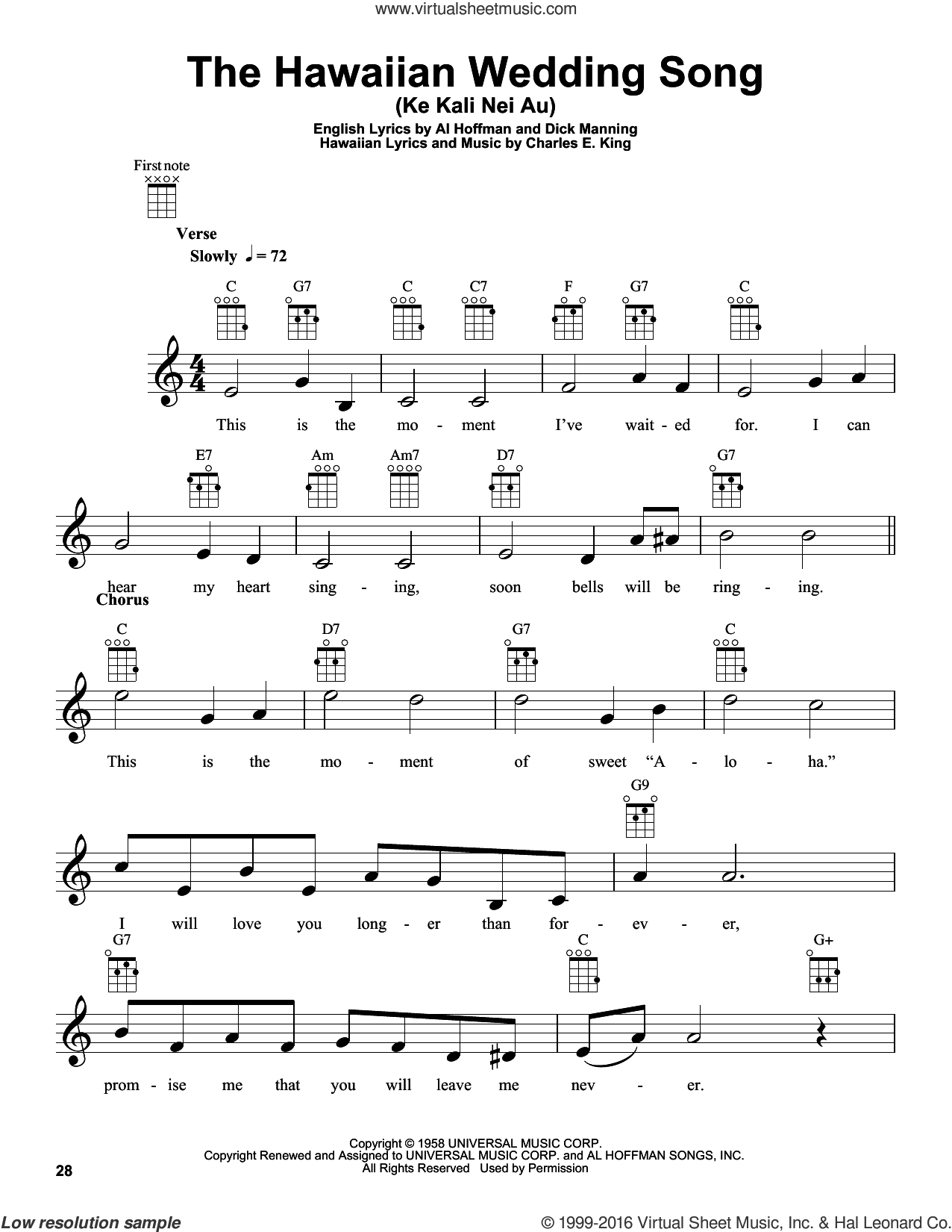 The Hawaiian Wedding Song (Ke Kali Nei Au) sheet music for ukulele by Dick Manning, Andy Williams, Al Hoffman and Charles E. King