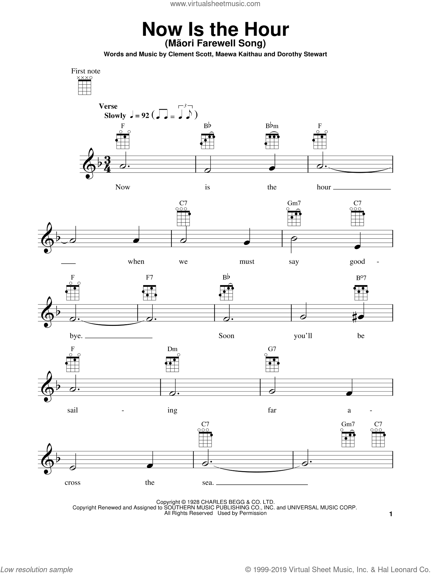 Now Is The Hour (Maori Farewell Song) sheet music for ukulele by Bing Crosby, Clement Scott, Dorothy Stewart and Maewa Kaithau, intermediate. Score Image Preview.