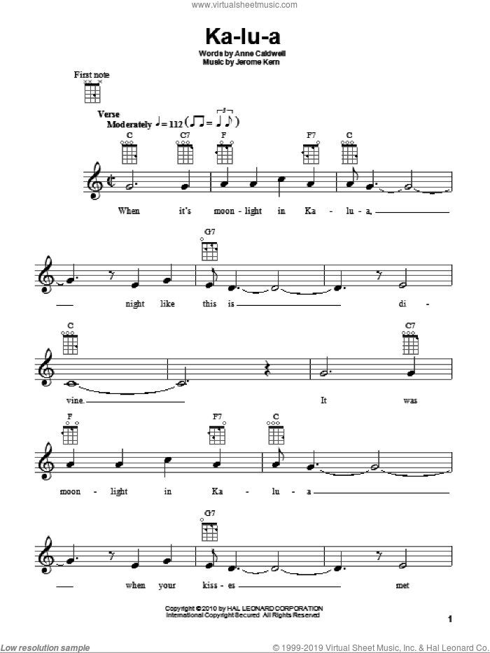 Ka-lu-a sheet music for ukulele by Anne Caldwell and Jerome Kern, intermediate skill level