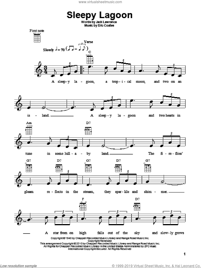 Sleepy Lagoon sheet music for ukulele by Jack Lawrence