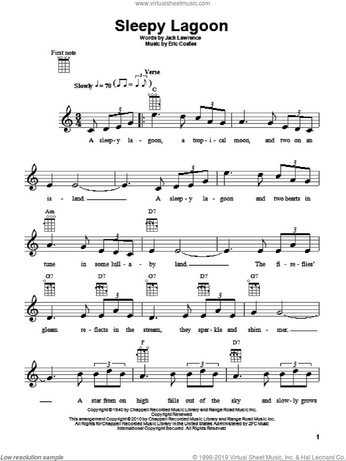 Sleepy Lagoon sheet music for ukulele by Harry James, Eric Coates and Jack Lawrence, intermediate skill level
