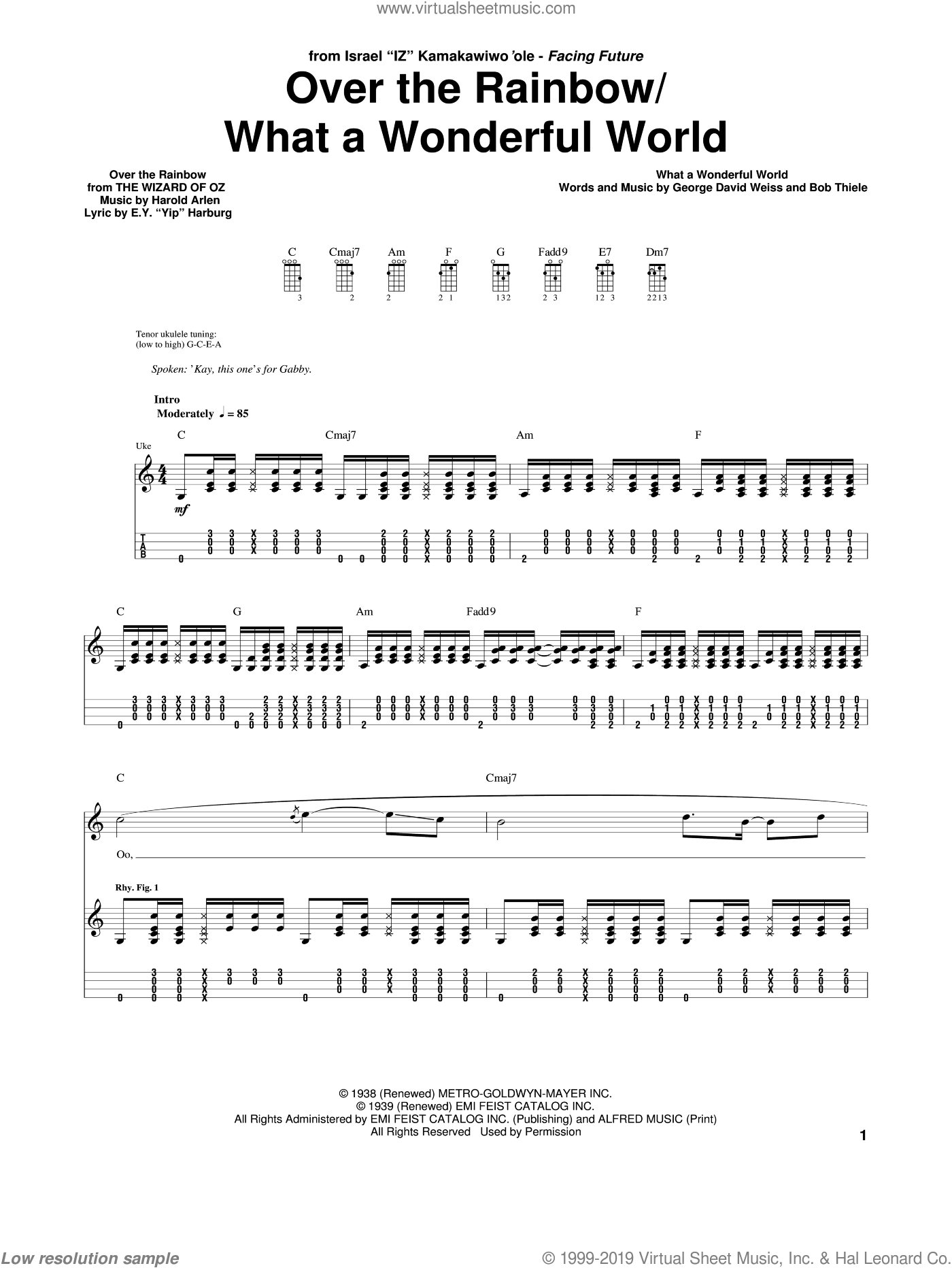 Over The Rainbow / What A Wonderful World sheet music for ukulele (tablature) by Harold Arlen, Judy Garland and E.Y. Harburg. Score Image Preview.