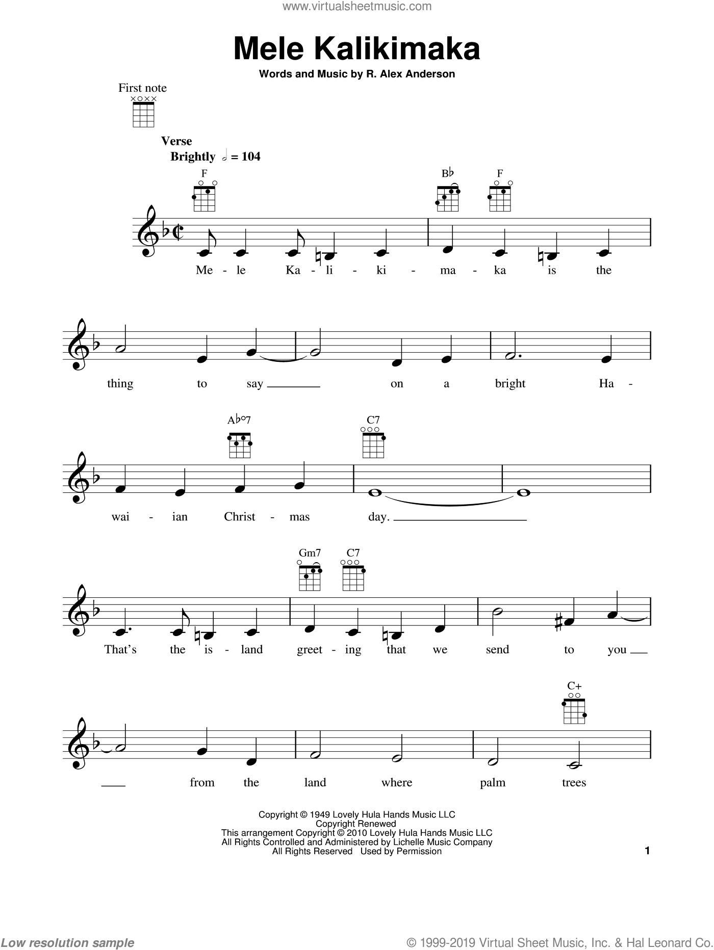Mele Kalikimaka (Merry Christmas In Hawaii) sheet music for ukulele by Bing Crosby and R. Alex Anderson, intermediate skill level