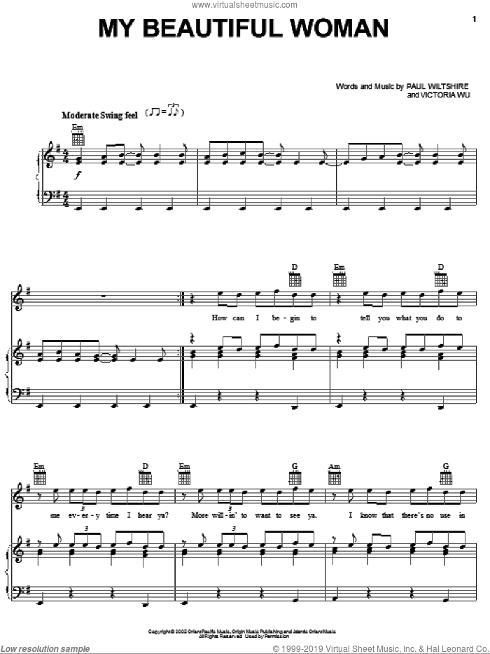 My Beautiful Woman sheet music for voice, piano or guitar by Victoria Wu