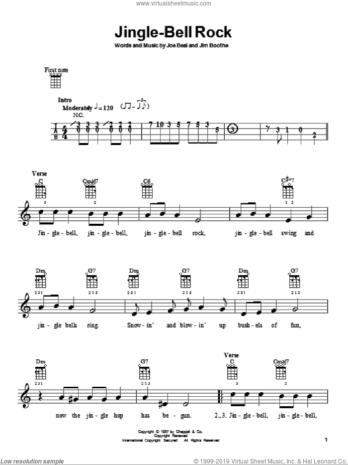Jingle-Bell Rock sheet music for ukulele by Bobby Helms, Jim Boothe and Joe Beal, intermediate skill level
