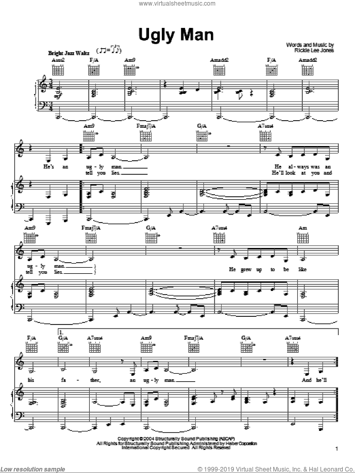 Ugly Man sheet music for voice, piano or guitar by Rickie Lee Jones, intermediate voice, piano or guitar. Score Image Preview.