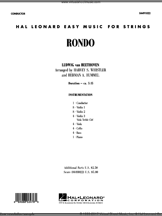 Rondo (COMPLETE) sheet music for orchestra by Ludwig van Beethoven