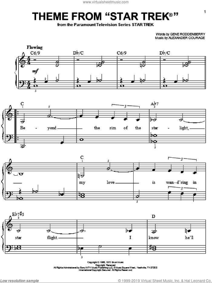 Theme From Star Trek(R) sheet music for piano solo by Gene Roddenberry and Alexander Courage, easy skill level