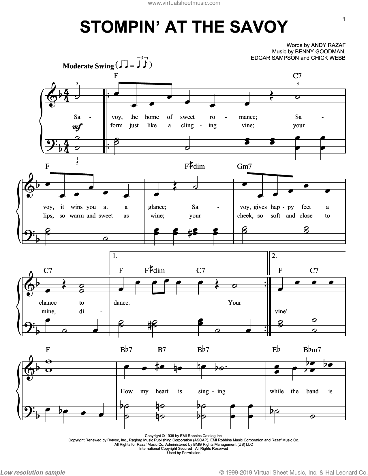 Stompin' At The Savoy sheet music for piano solo (chords) by Edgar Sampson