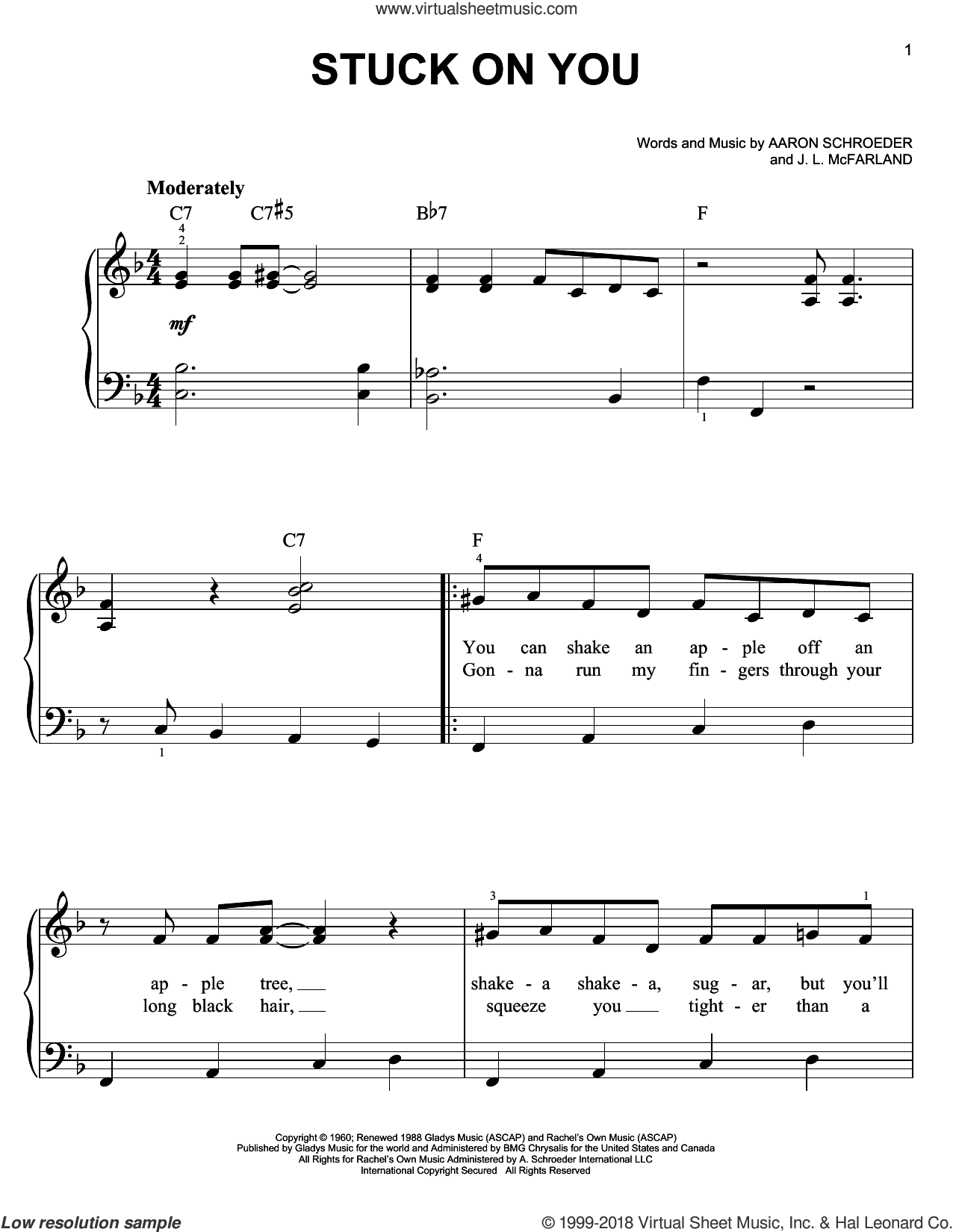 Stuck On You sheet music for piano solo by Elvis Presley, Aaron Schroeder and J. Leslie McFarland, easy skill level