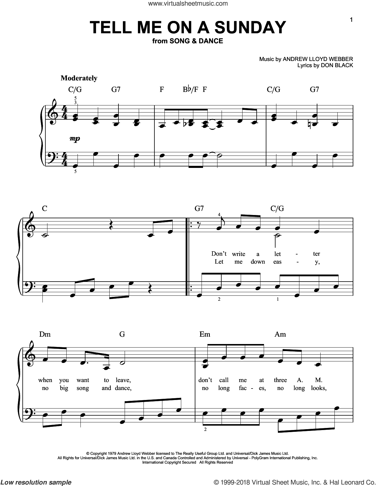 Tell Me On A Sunday, (easy) sheet music for piano solo by Andrew Lloyd Webber and Don Black, easy skill level