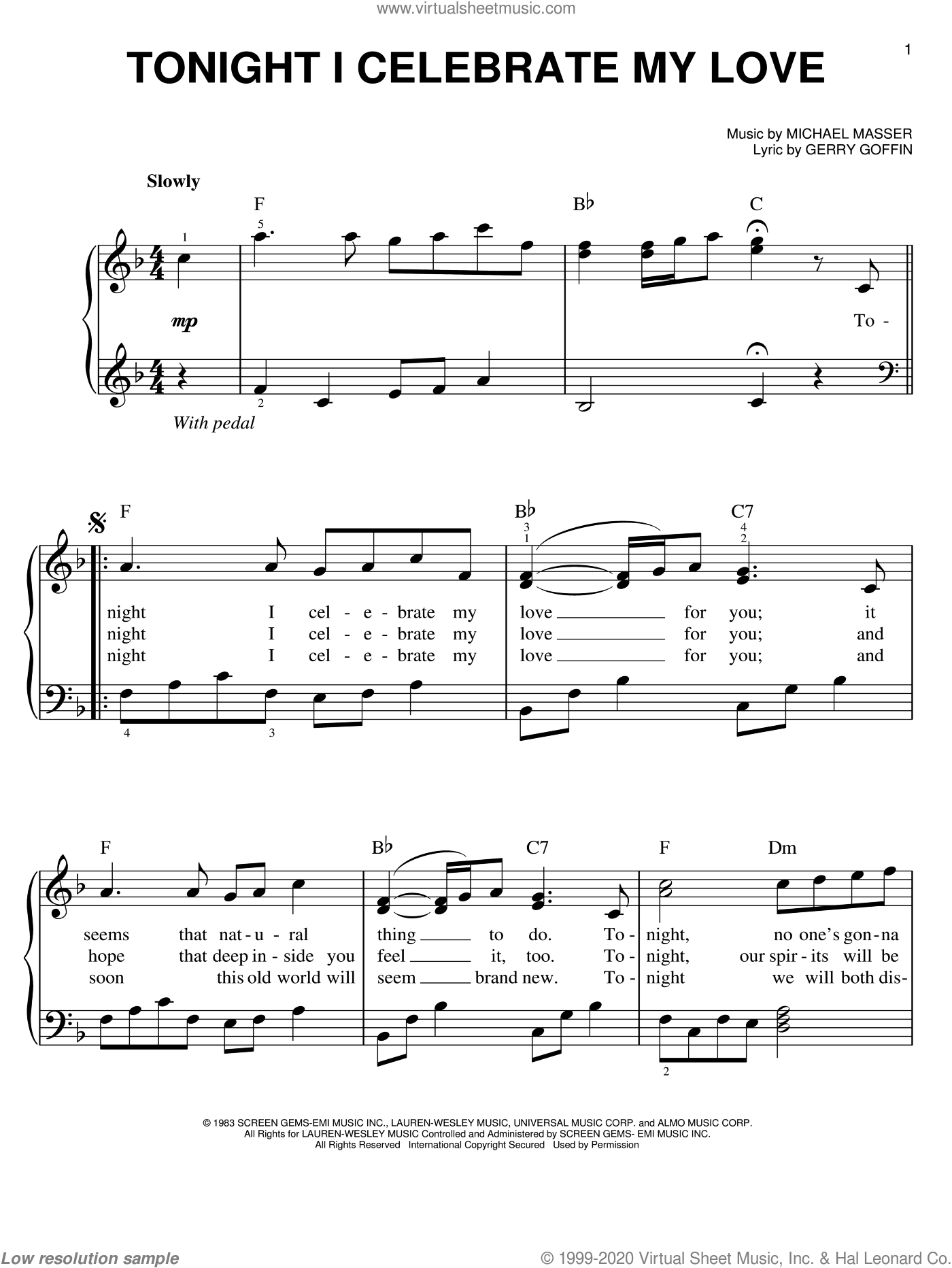 Tonight, I Celebrate My Love sheet music for piano solo by Roberta Flack, Gerry Goffin and Michael Masser, wedding score, easy skill level