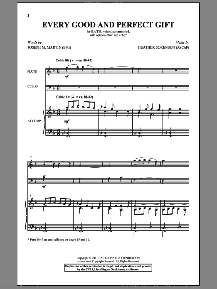 Every Good And Perfect Gift sheet music for choir and piano (SATB) by Heather Sorenson and Joseph M. Martin. Score Image Preview.
