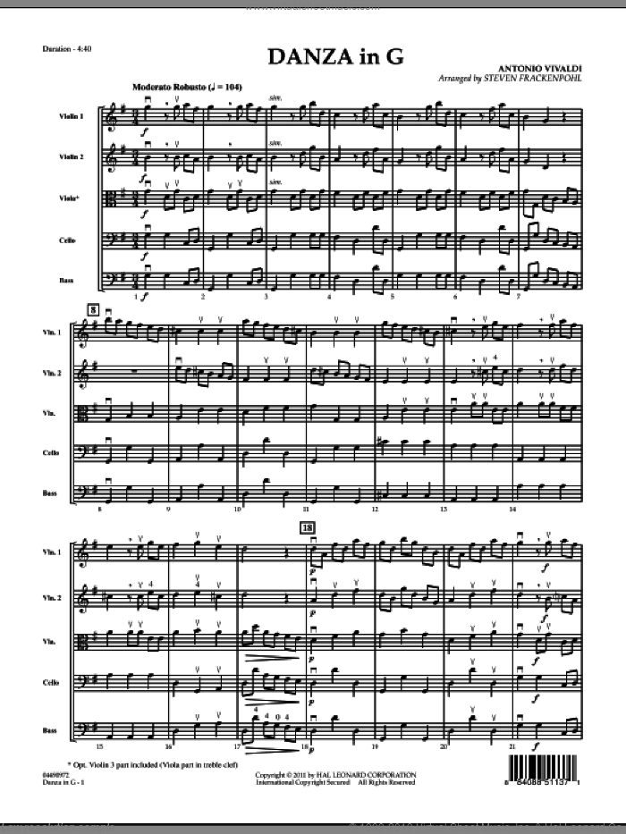 Danza In G (COMPLETE) sheet music for orchestra by Antonio Vivaldi and Steve Frackenpohl, classical score, intermediate. Score Image Preview.