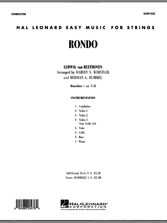Rondo (COMPLETE) sheet music for orchestra by Ludwig van Beethoven, Harvey Whistler and Herman Hummel, classical score, intermediate skill level