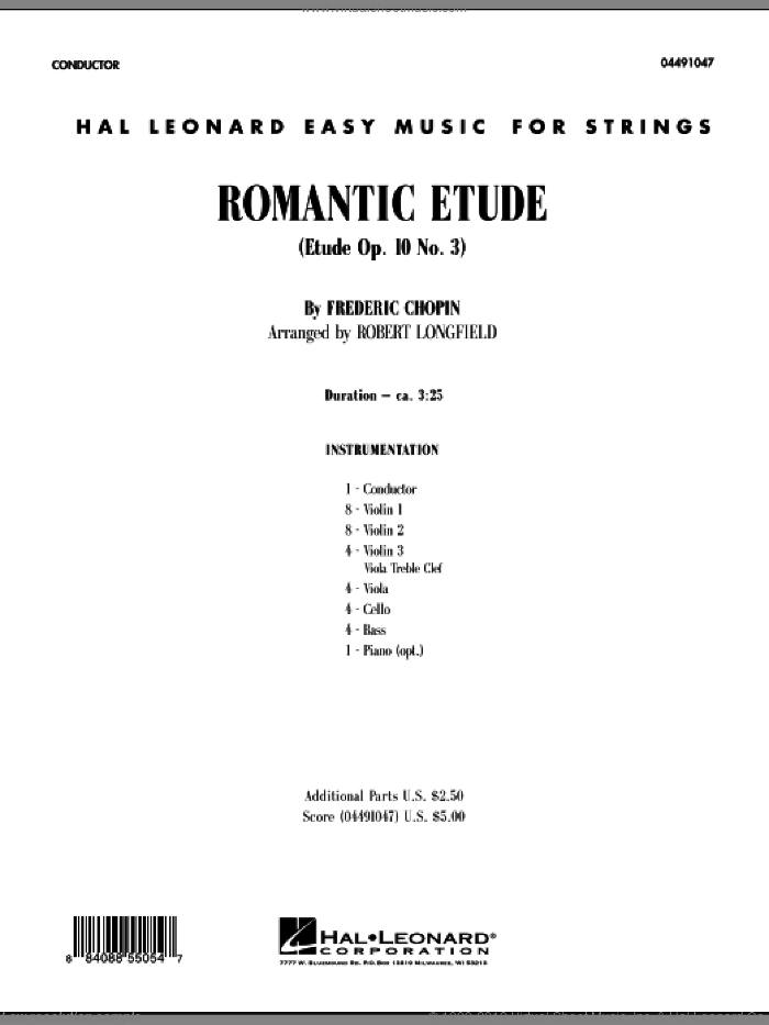 Romantic Etude (Op. 10, No. 3) (COMPLETE) sheet music for orchestra by Frederic Chopin and Robert Longfield, classical score, intermediate. Score Image Preview.