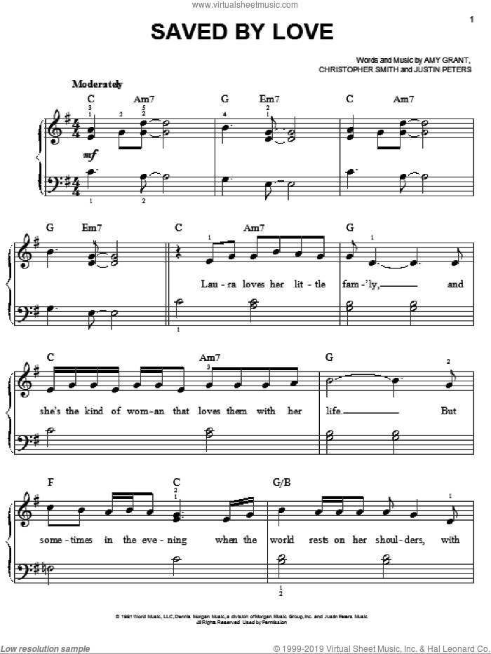 Saved By Love sheet music for piano solo by Amy Grant and Christopher Smith. Score Image Preview.