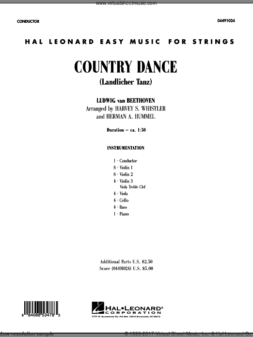 Country Dance (Landlicher Tanz) (COMPLETE) sheet music for orchestra by Ludwig van Beethoven