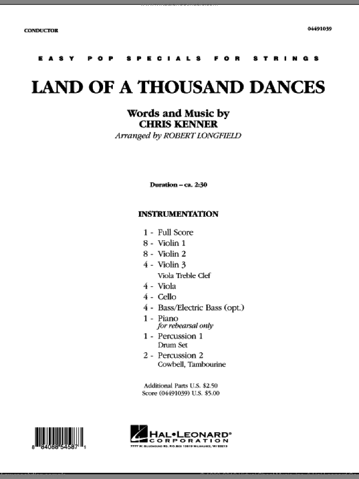 Land Of A Thousand Dances sheet music for orchestra (full score) by Chris Kenner