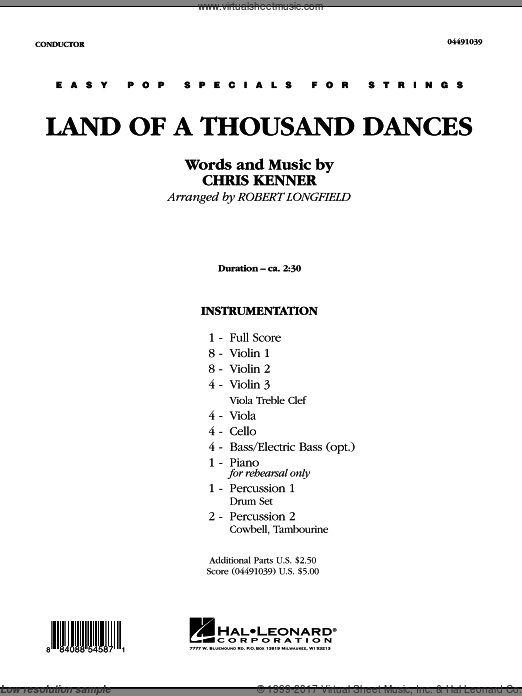 Land Of A Thousand Dances (COMPLETE) sheet music for orchestra by Chris Kenner