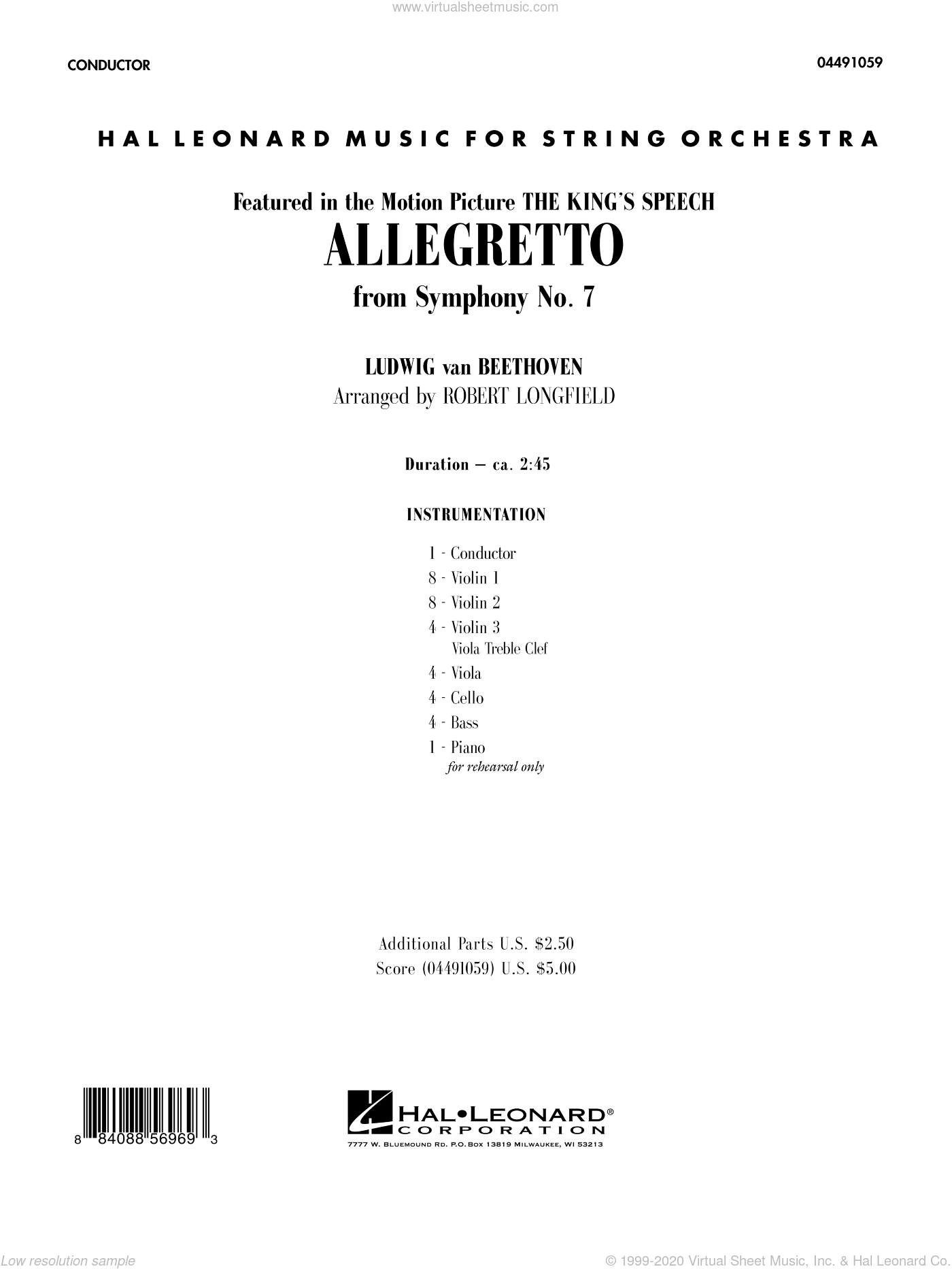 Allegretto (from Symphony No. 7) sheet music for orchestra (full score) by Ludwig van Beethoven