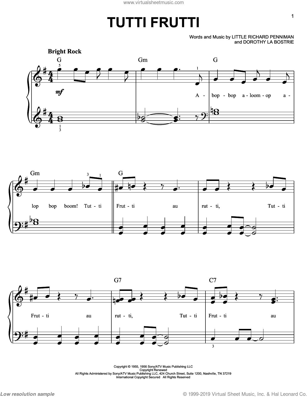 Tutti Frutti sheet music for piano solo (chords) by Richard Penniman
