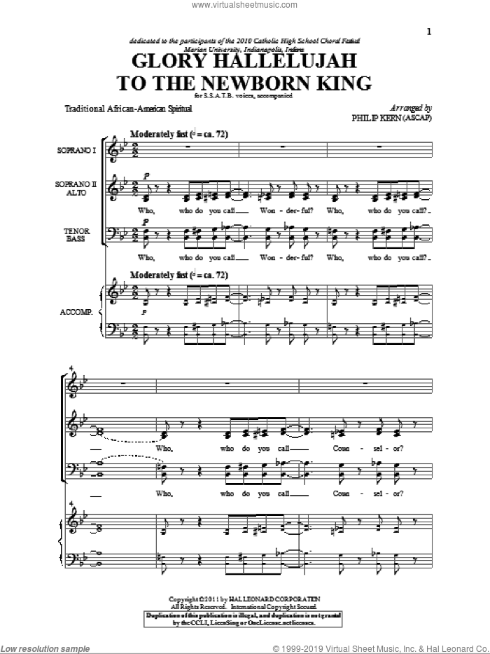Kern Glory Hallelujah To The Newborn King Sheet Music For Choir Satb Soprano Alto Tenor Bass