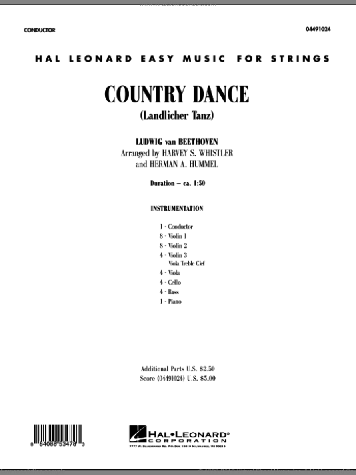 Country Dance (Landlicher Tanz) (COMPLETE) sheet music for orchestra by Ludwig van Beethoven, Robert Schumann, Harvey Whistler and Herman Hummel, classical score, intermediate skill level