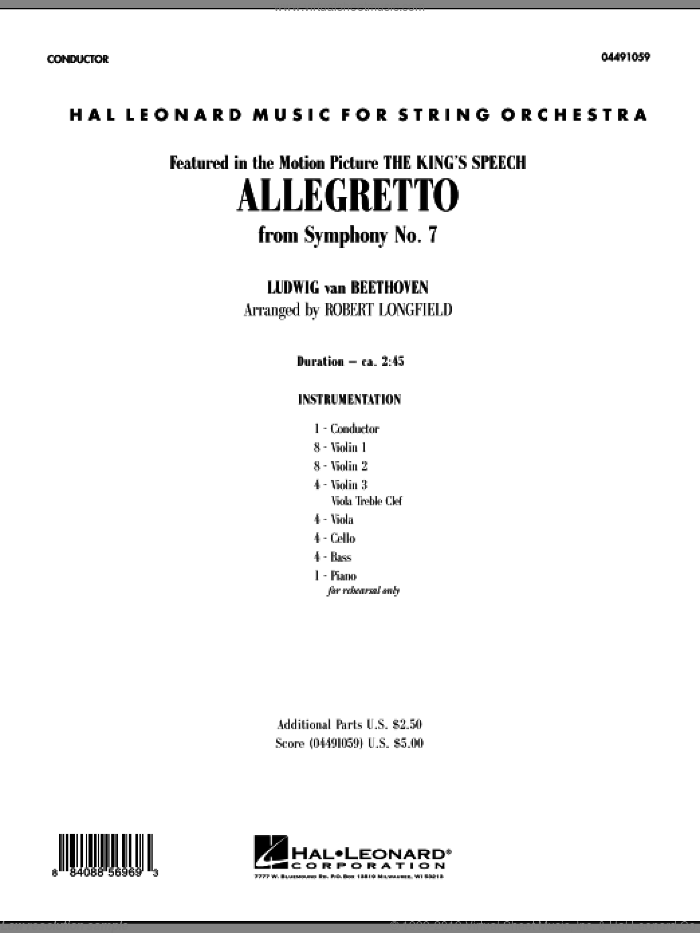 Allegretto (from Symphony No. 7) (COMPLETE) sheet music for orchestra by Ludwig van Beethoven and Robert Longfield, classical score, intermediate. Score Image Preview.