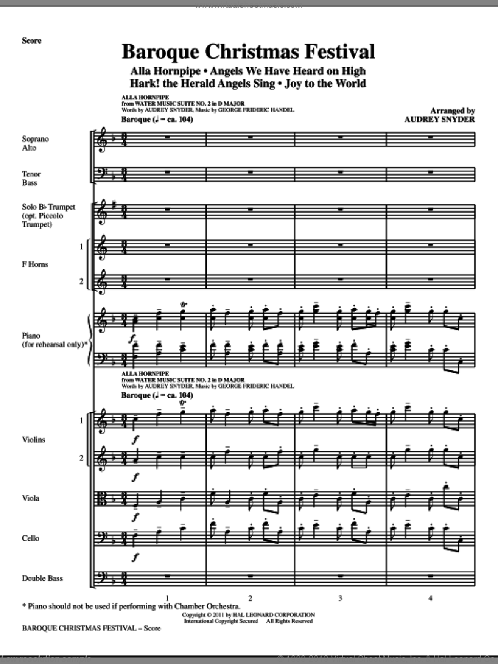 Baroque Christmas Festival (Medley) (complete set of parts) sheet music for orchestra/band (Strings) by Audrey Snyder, intermediate. Score Image Preview.