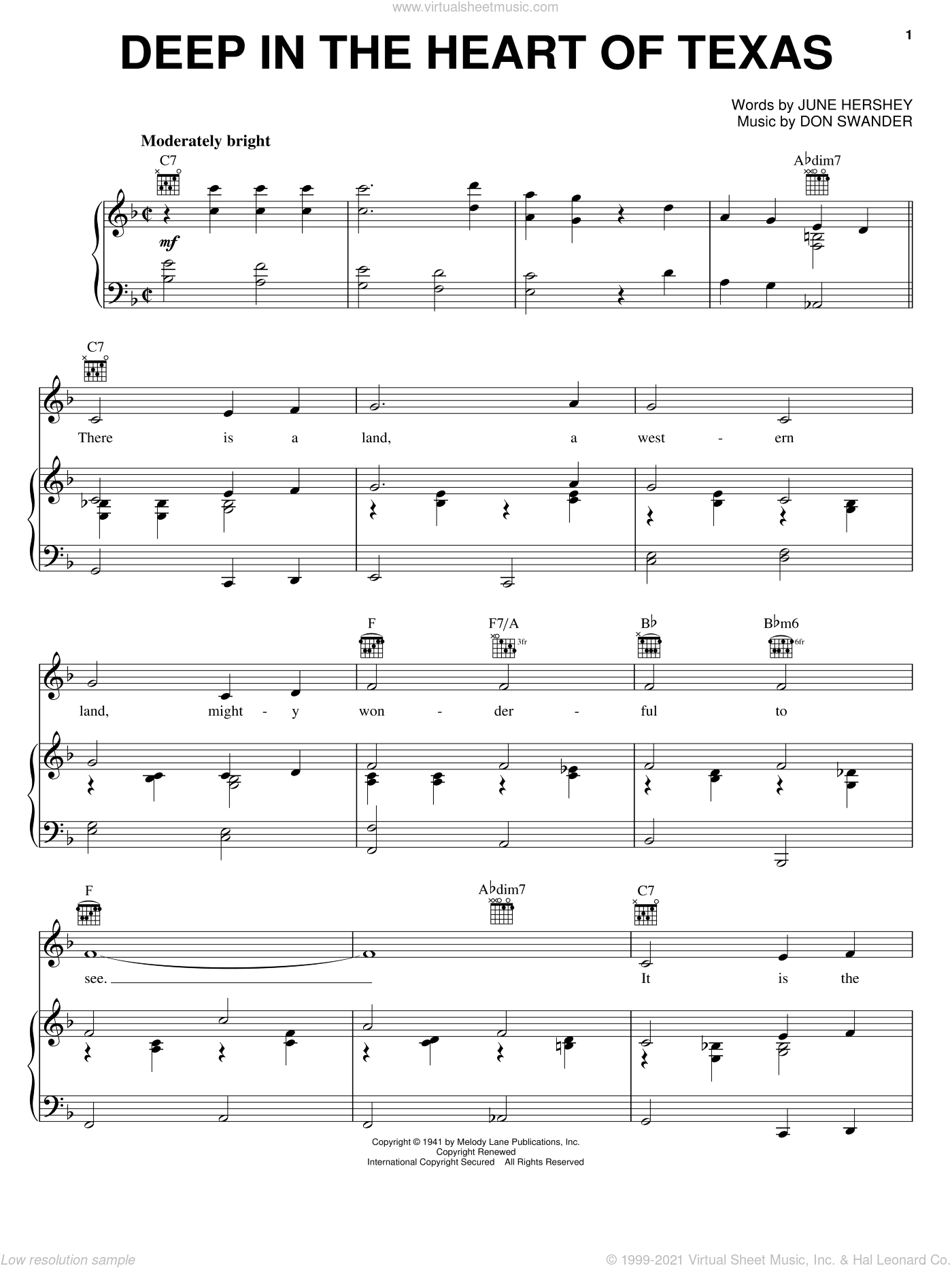 Deep In The Heart Of Texas sheet music for voice, piano or guitar by June Hershey